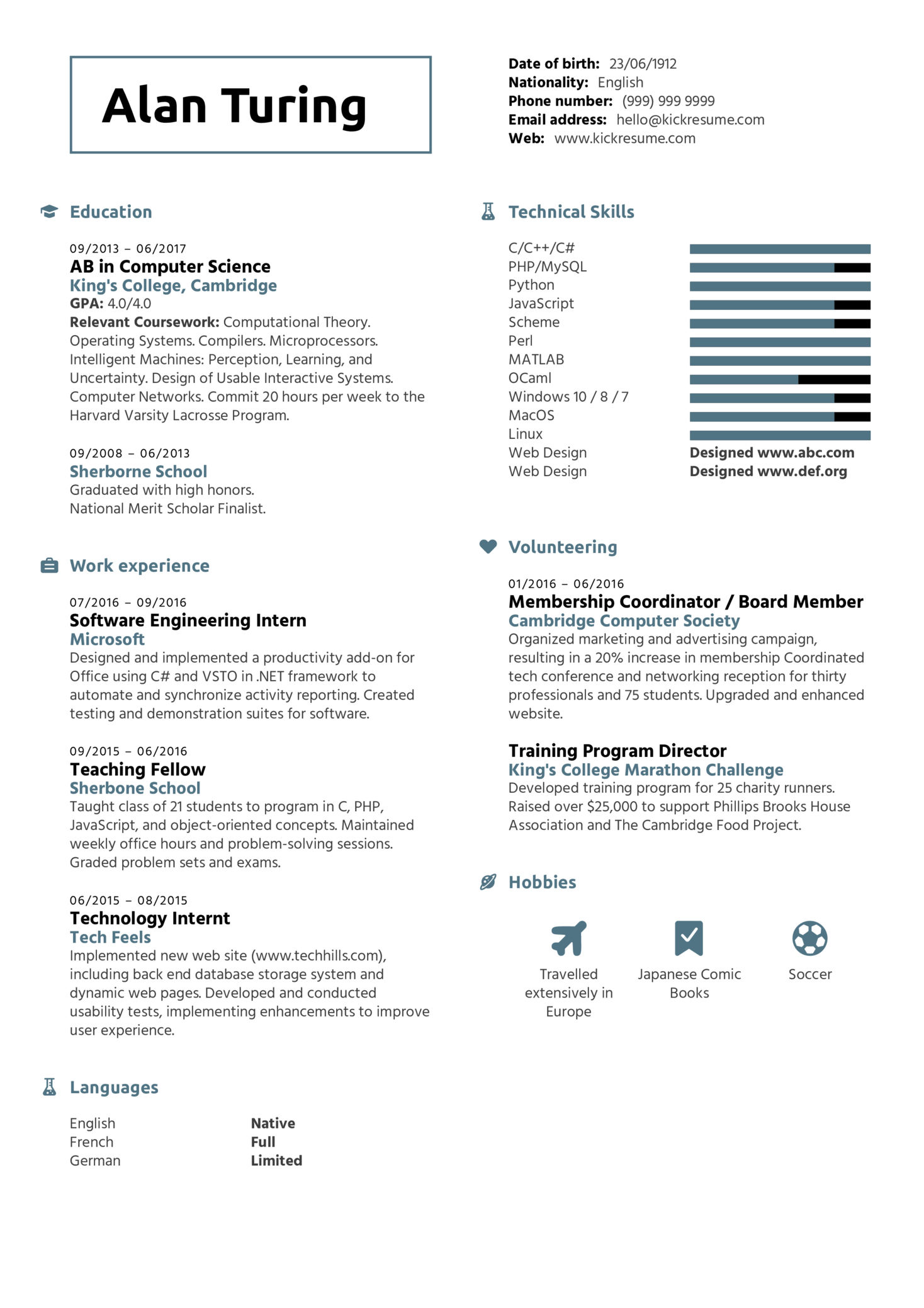 Student Resume Computer Science