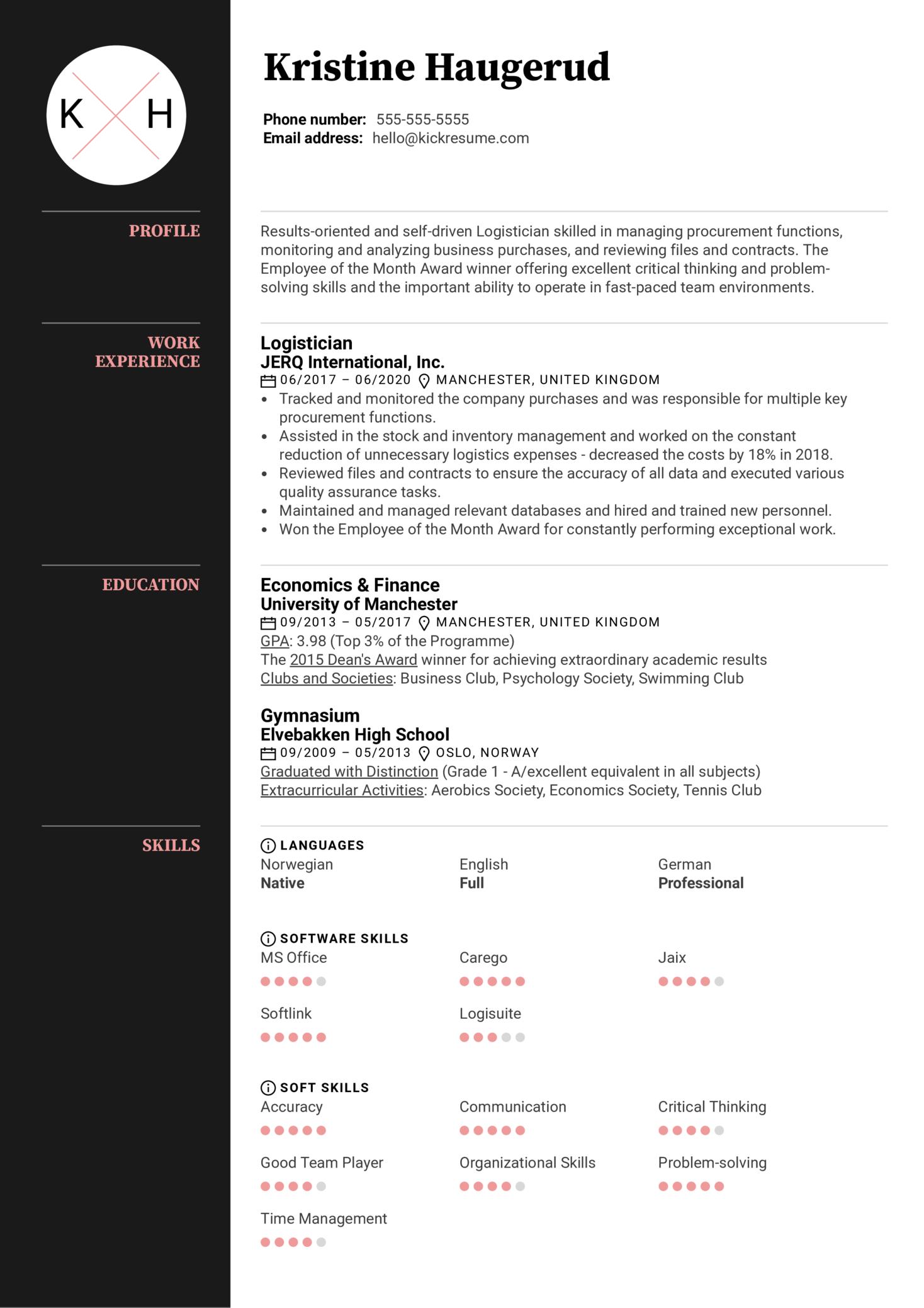 Logistician Resume Sample (parte 1)