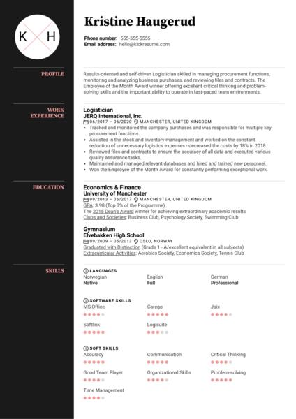 Logistician Resume Sample