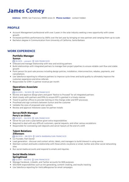 Portfolio Manager Resume Template
