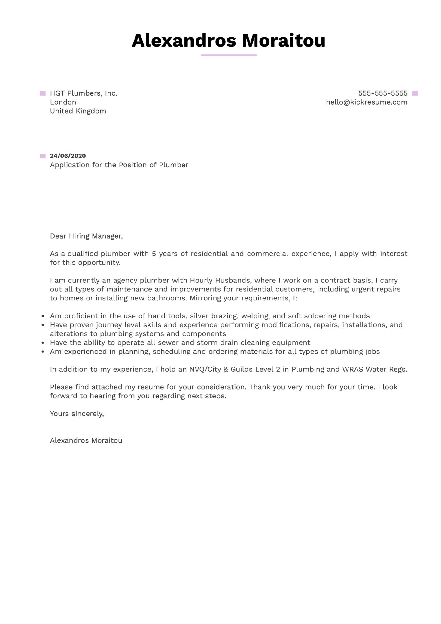 Plumber Cover Letter Sample