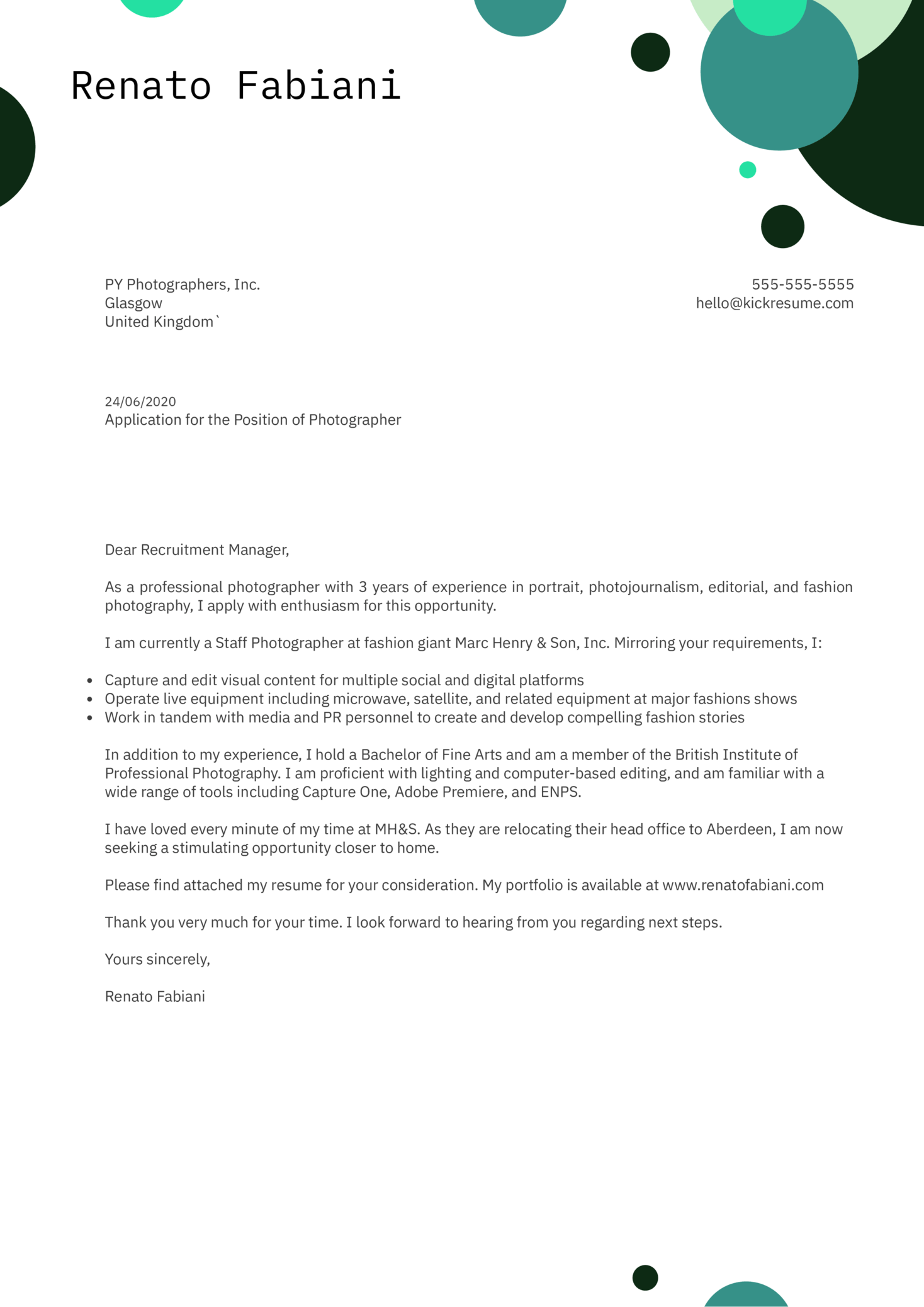 Photographer Cover Letter Example