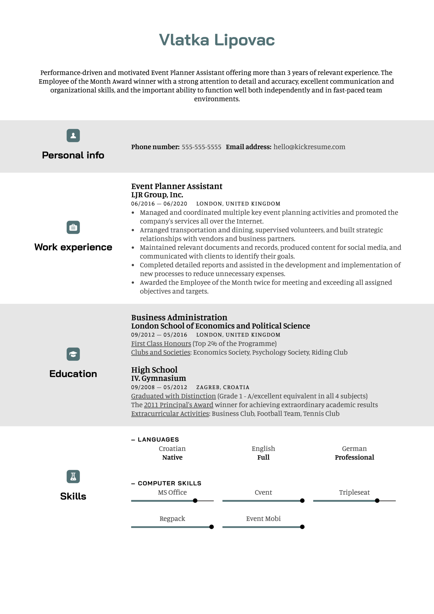 Event Planner Assistant Resume Sample (parte 1)