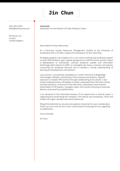 Cover Letter Example for Internship