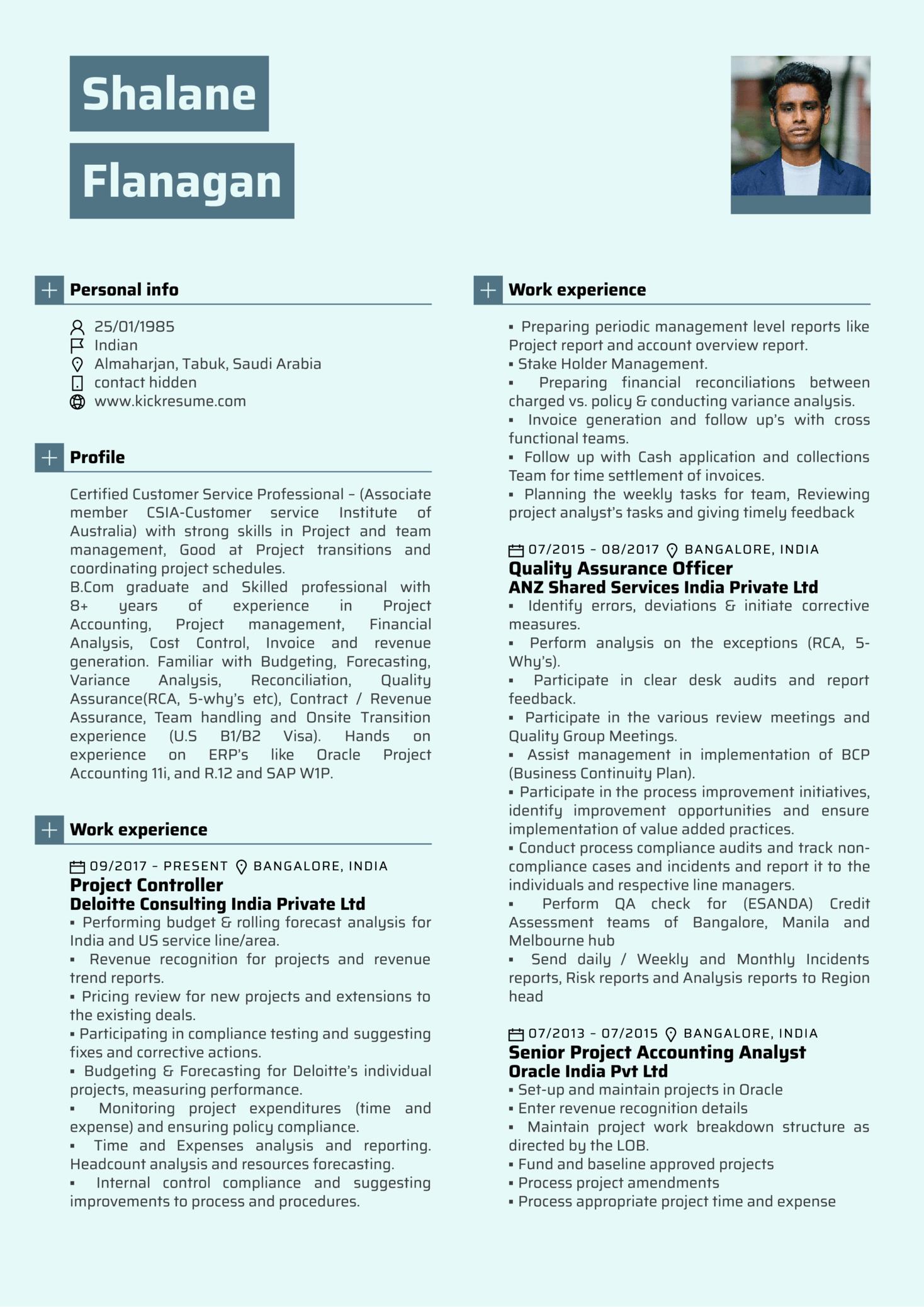 Deloitte Finance Manager Resume Template (Part 1)