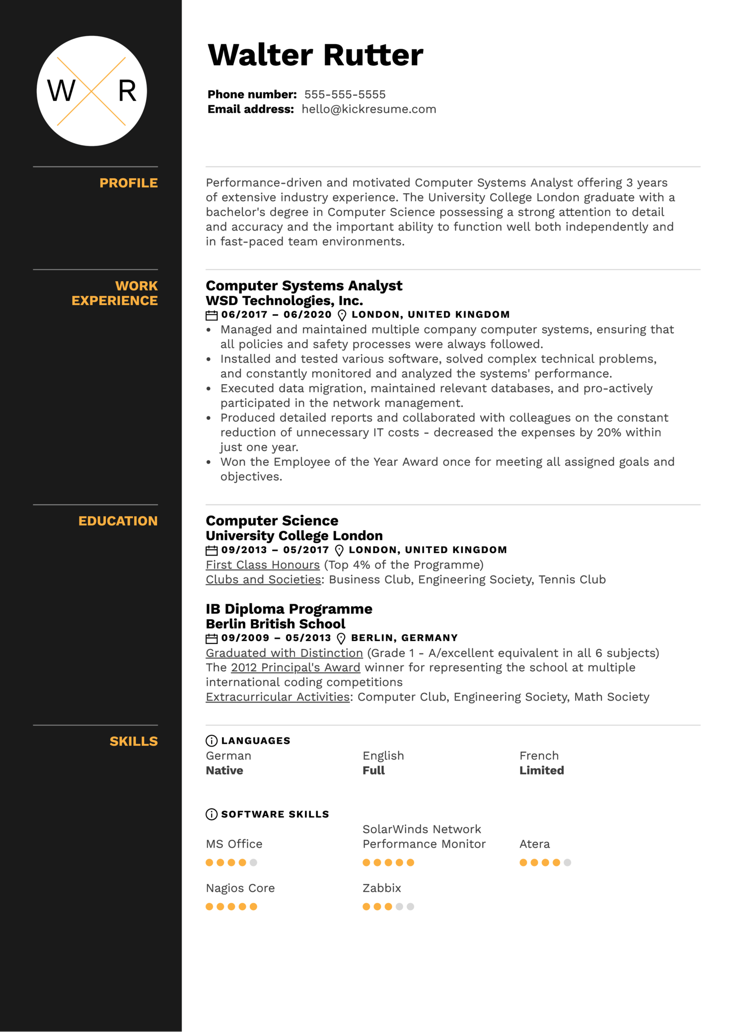 Computer Systems Analyst Resume Sample (Parte 1)