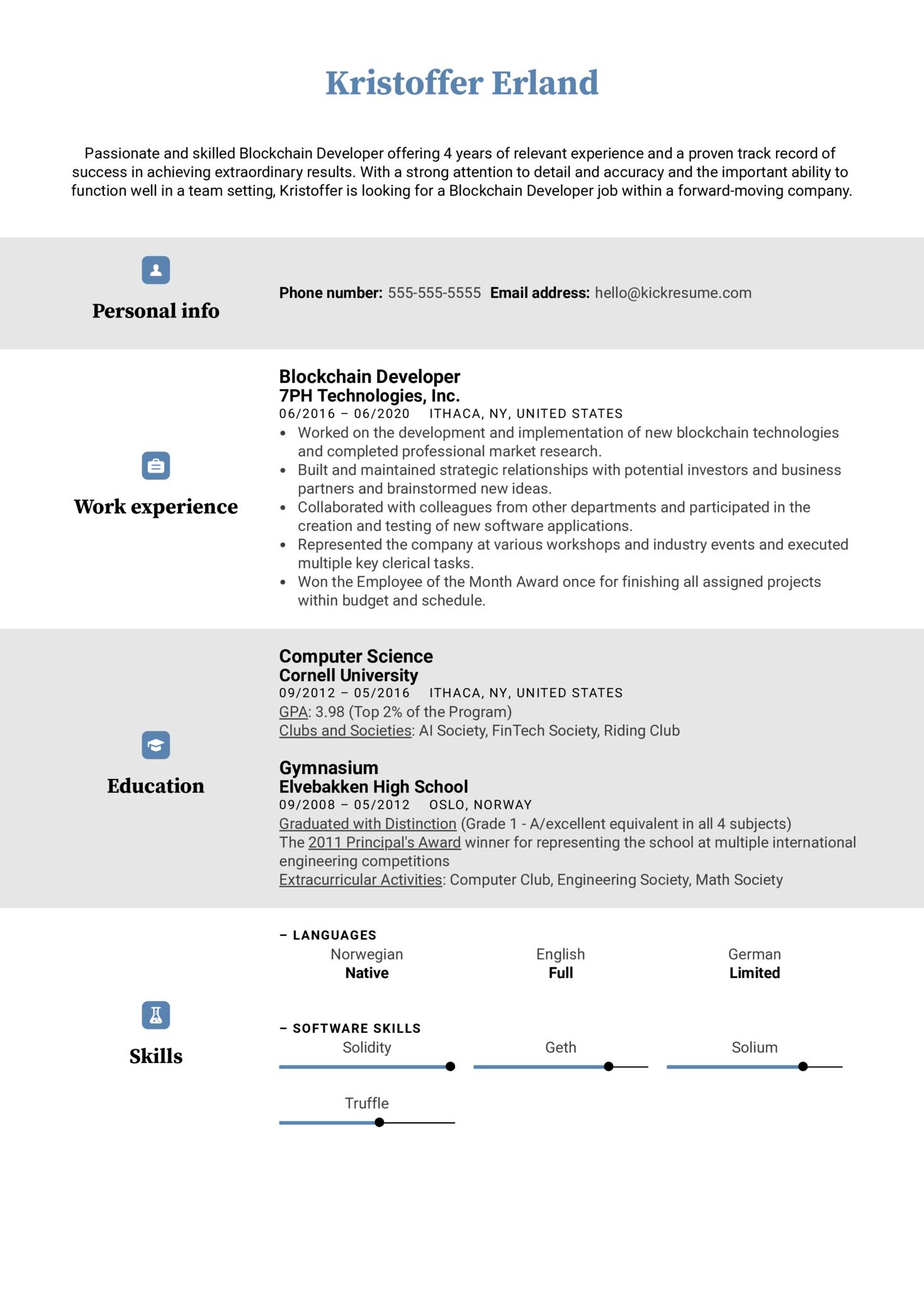 Blockchain Developer Resume Example (Part 1)