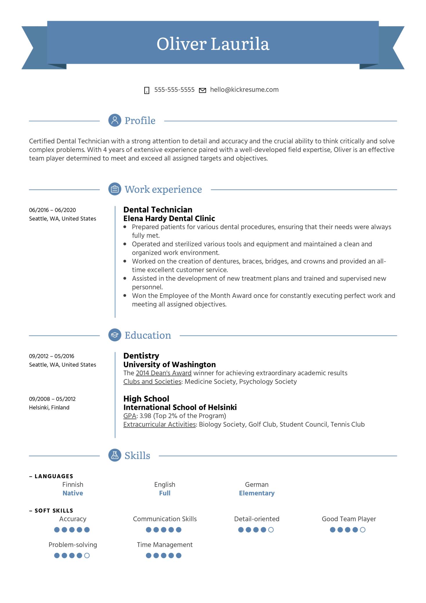 Dental Technician Resume Example (časť 1)