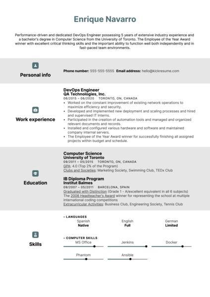 DevOps Engineer Resume Sample