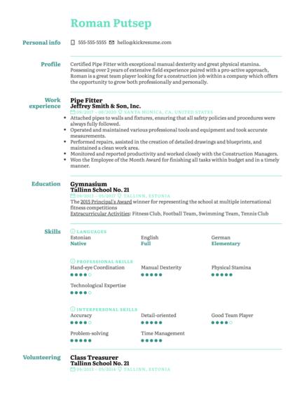 Pipe Fitter Resume Sample