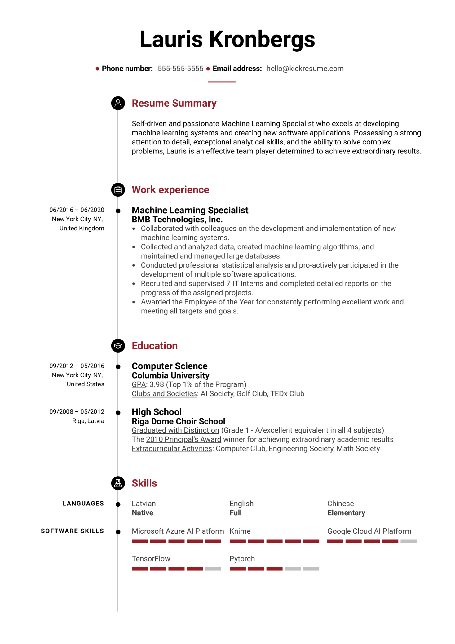Machine Learning Specialist Resume Example (parte 1)