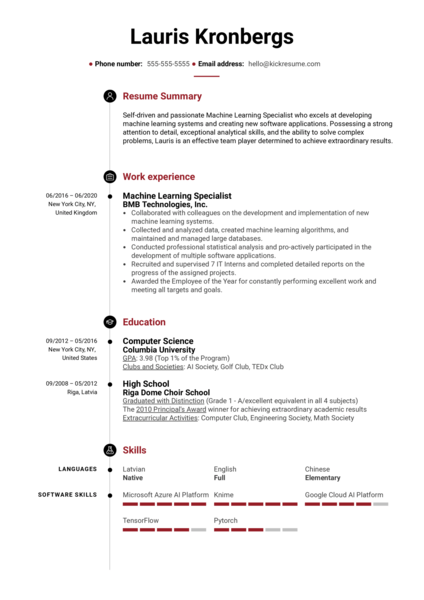 Machine Learning Specialist Resume Example