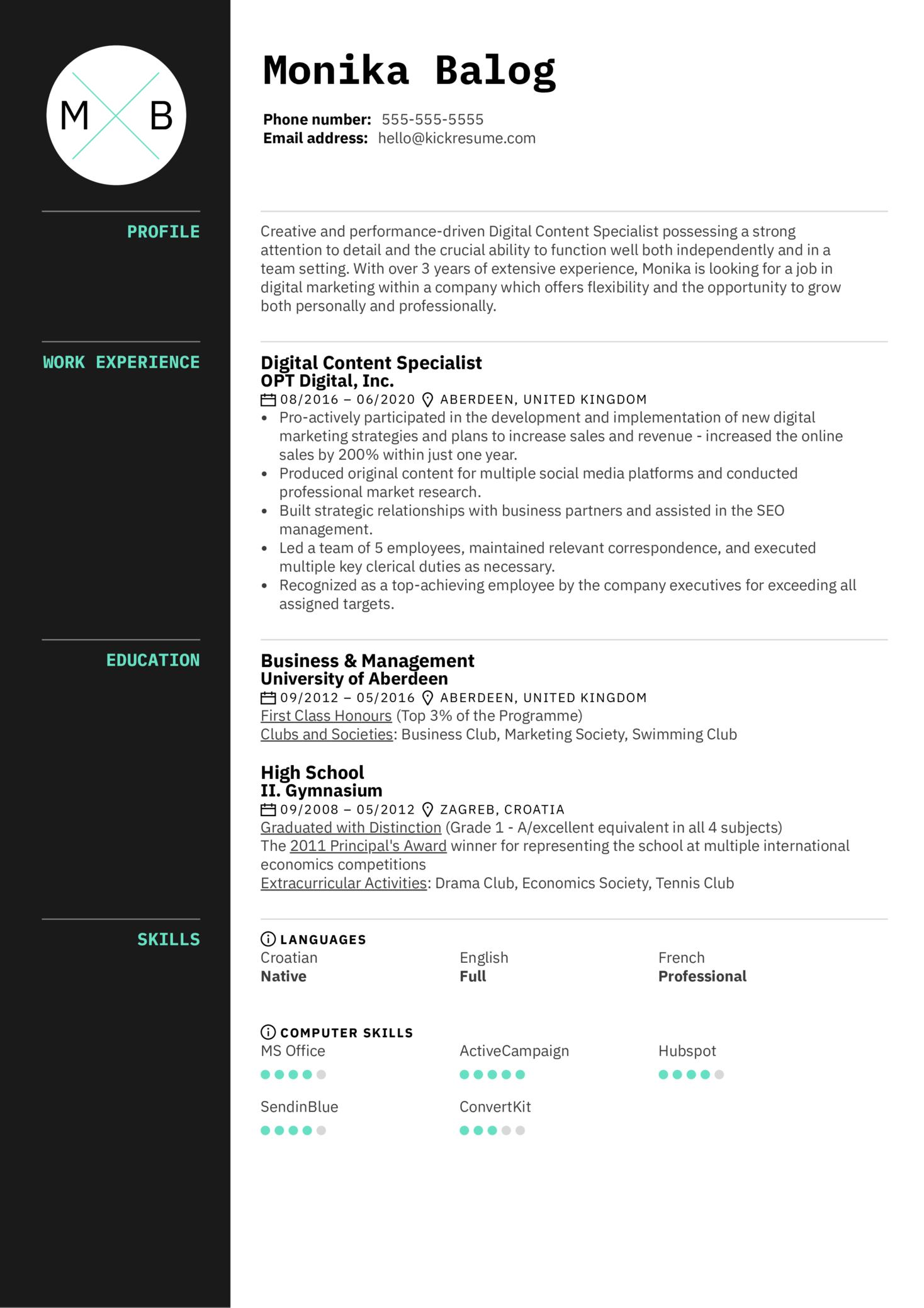 Digital Content Specialist Resume Example (parte 1)