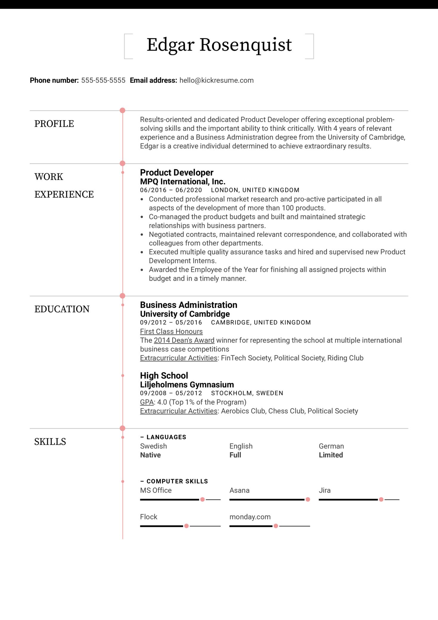 Product Developer Resume Sample (Part 1)