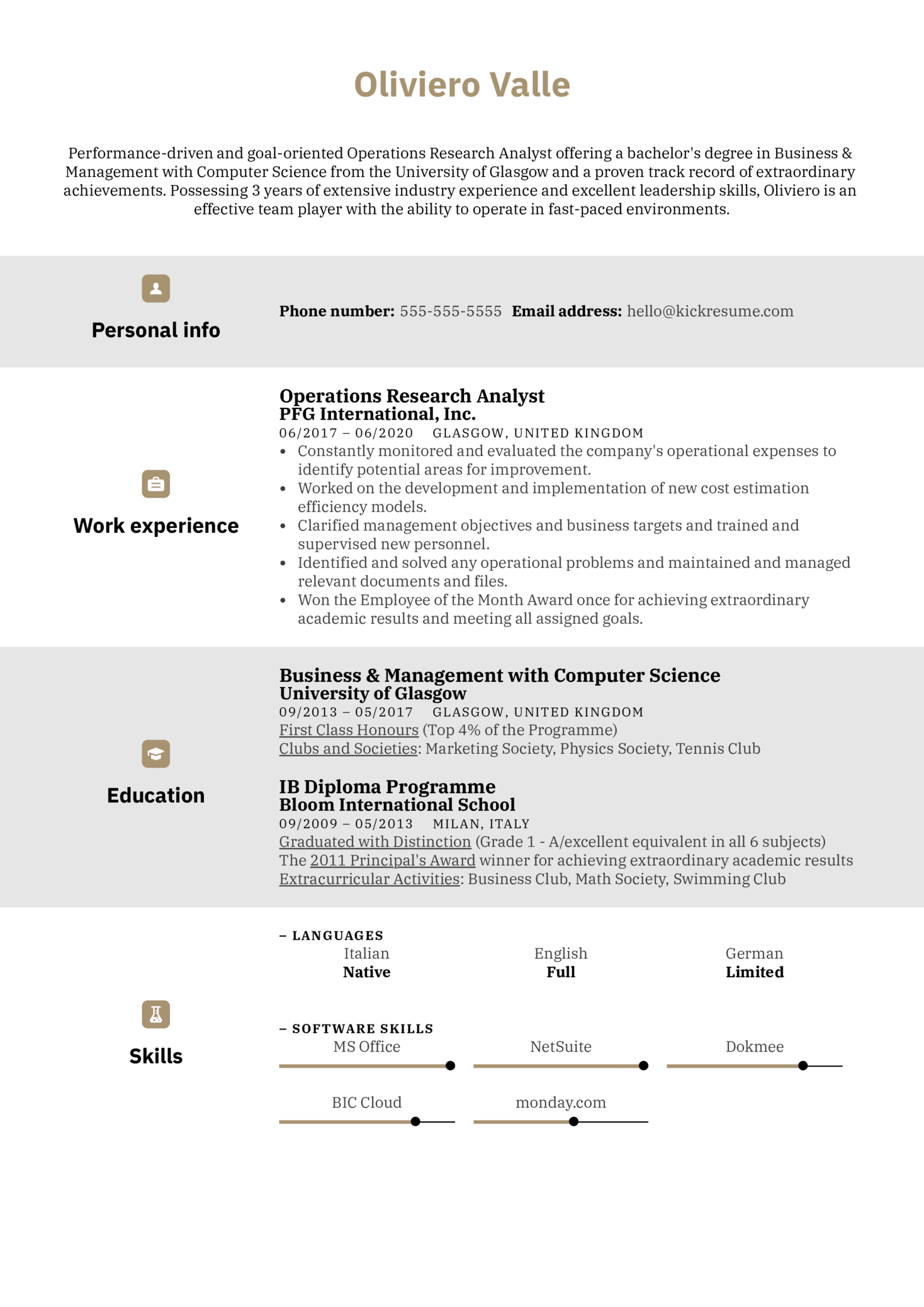 Operations Research Analyst Resume Example (Part 1)
