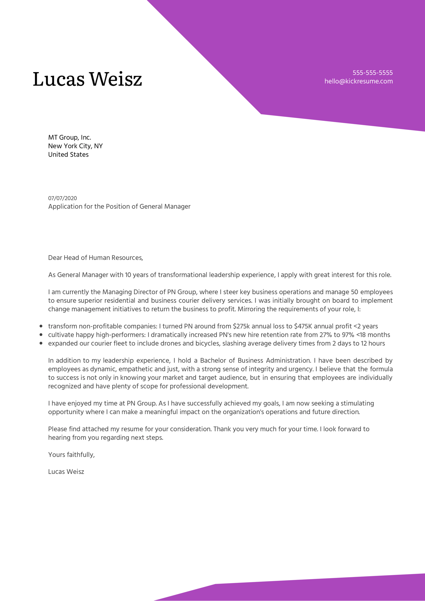 General Manager Cover Letter Example