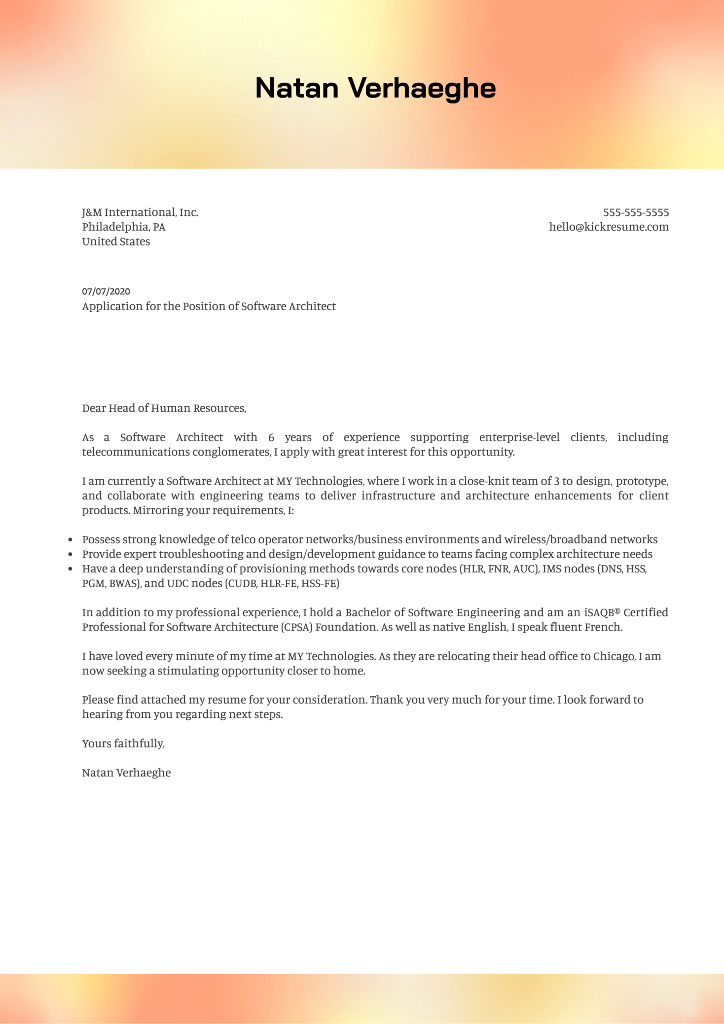 Software Architect Cover Letter Example