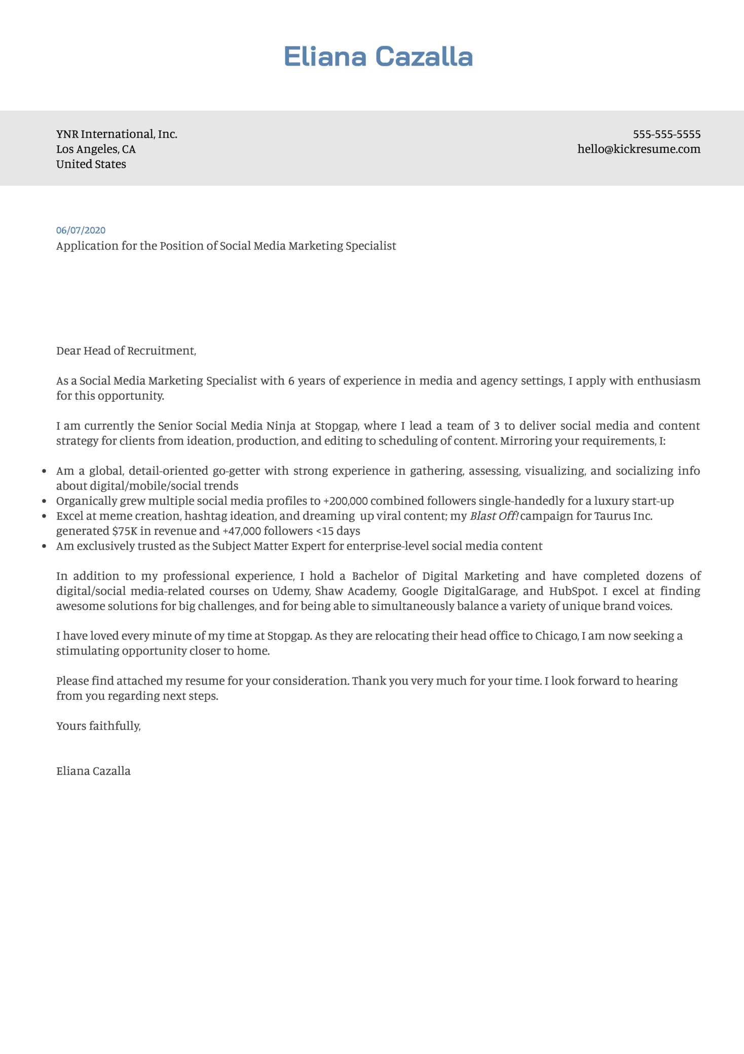 Free Social Media Marketing Cover Letter Example