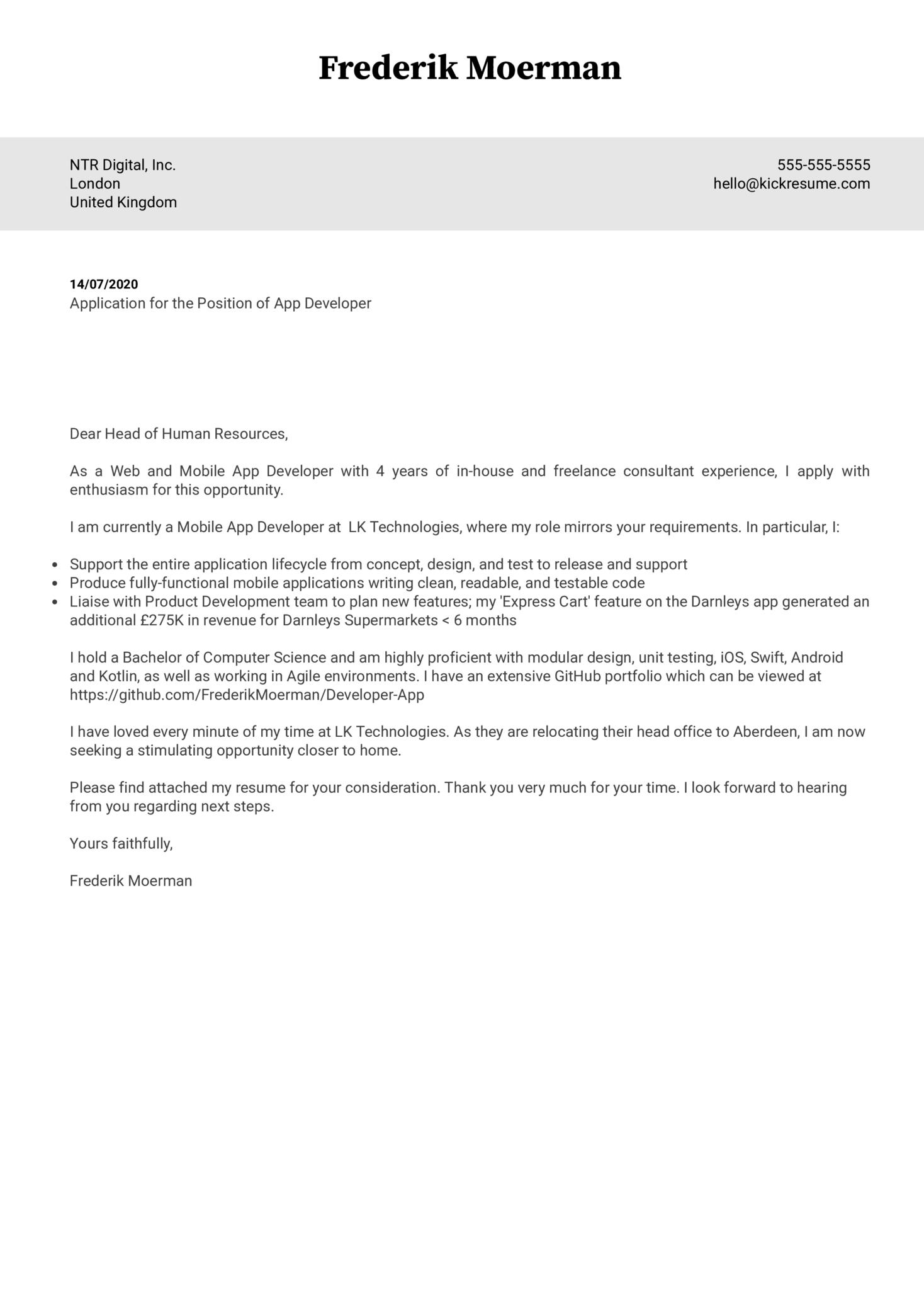 App Developer Cover Letter Example
