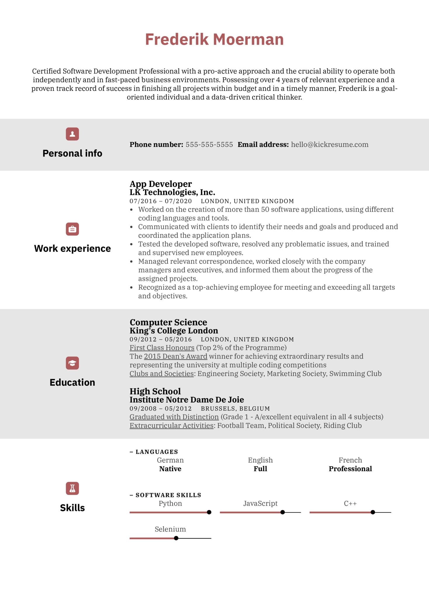 App Developer Resume Example (Part 1)