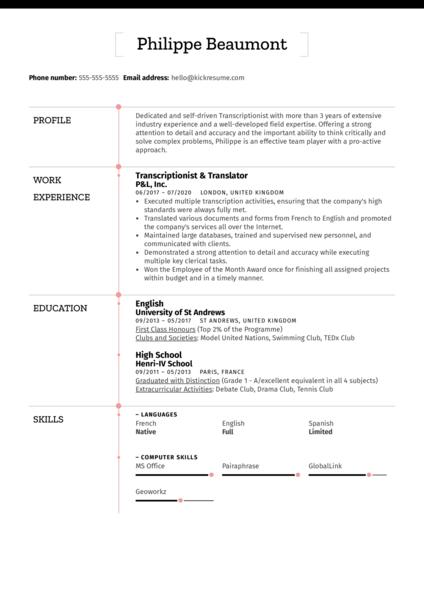 Transcriptionist Resume Sample