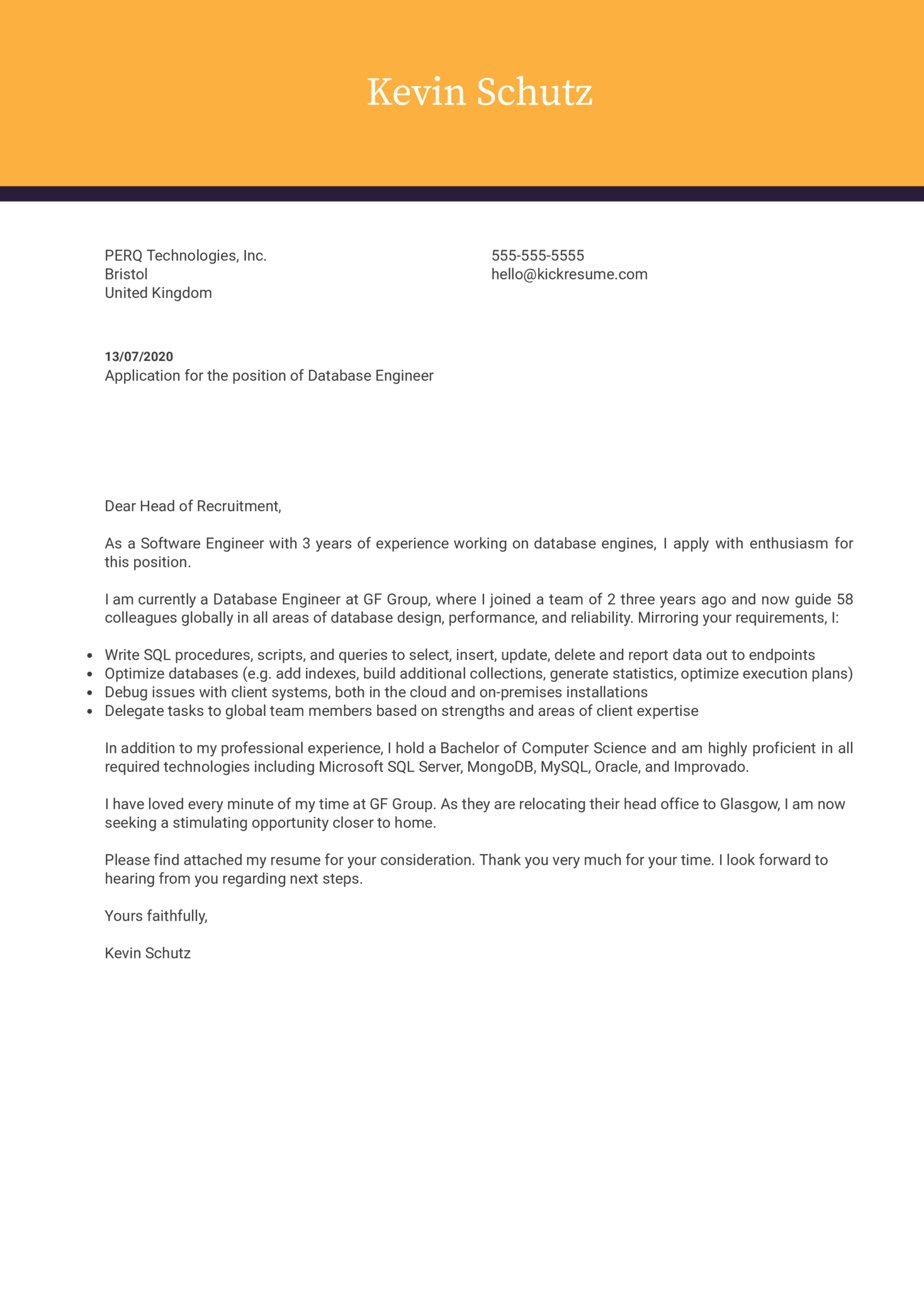 Database Engineer Cover Letter Example