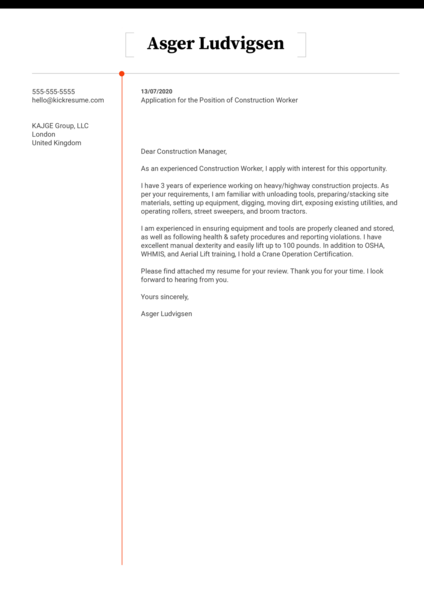 Free Construction Cover Letter Sample