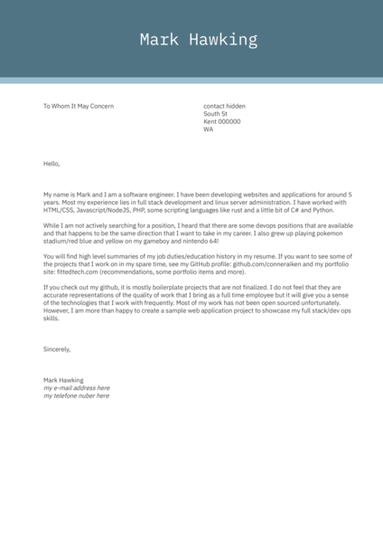 Software Engineer Cover Letter Sample