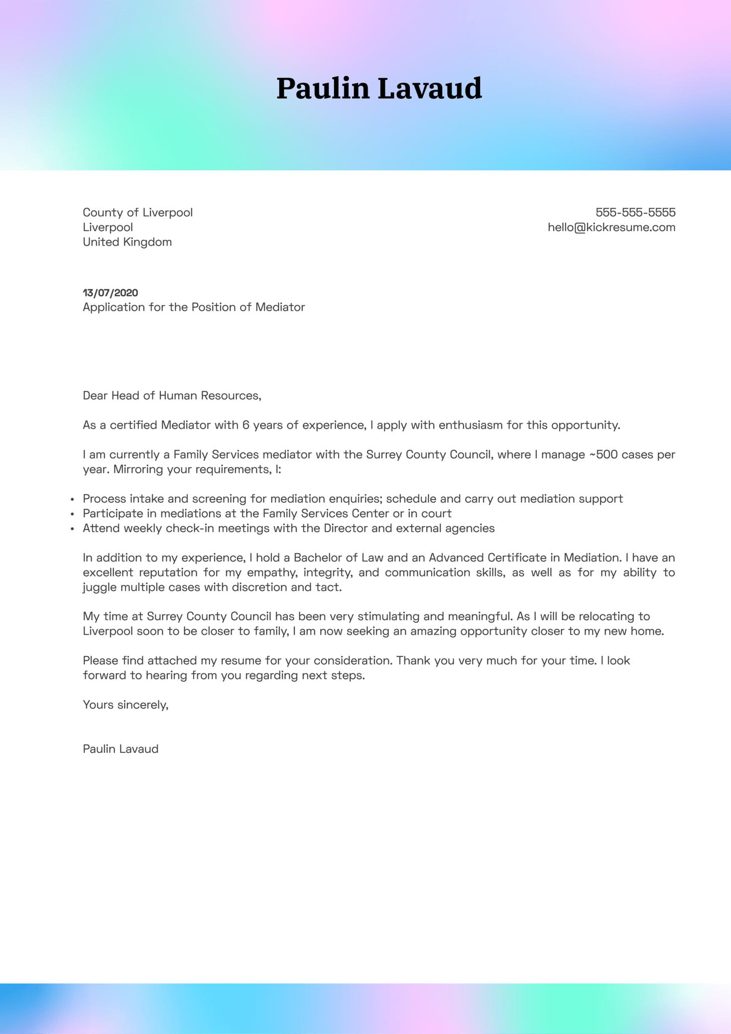 Mediator Cover Letter Example