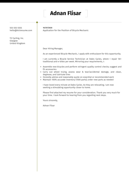 Bicycle Mechanic Cover Letter Example