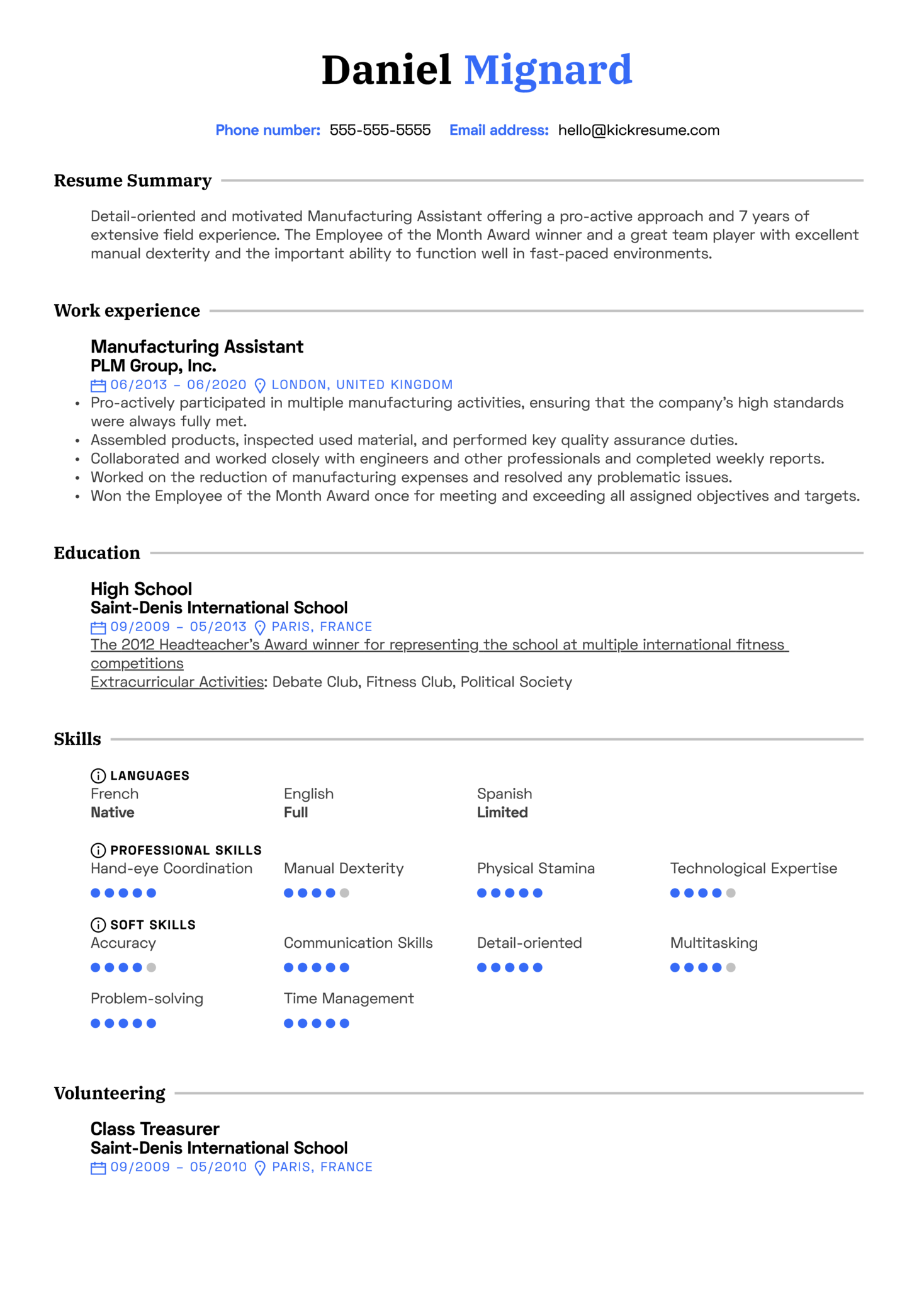 Manufacturing Assistant Resume Sample (parte 1)