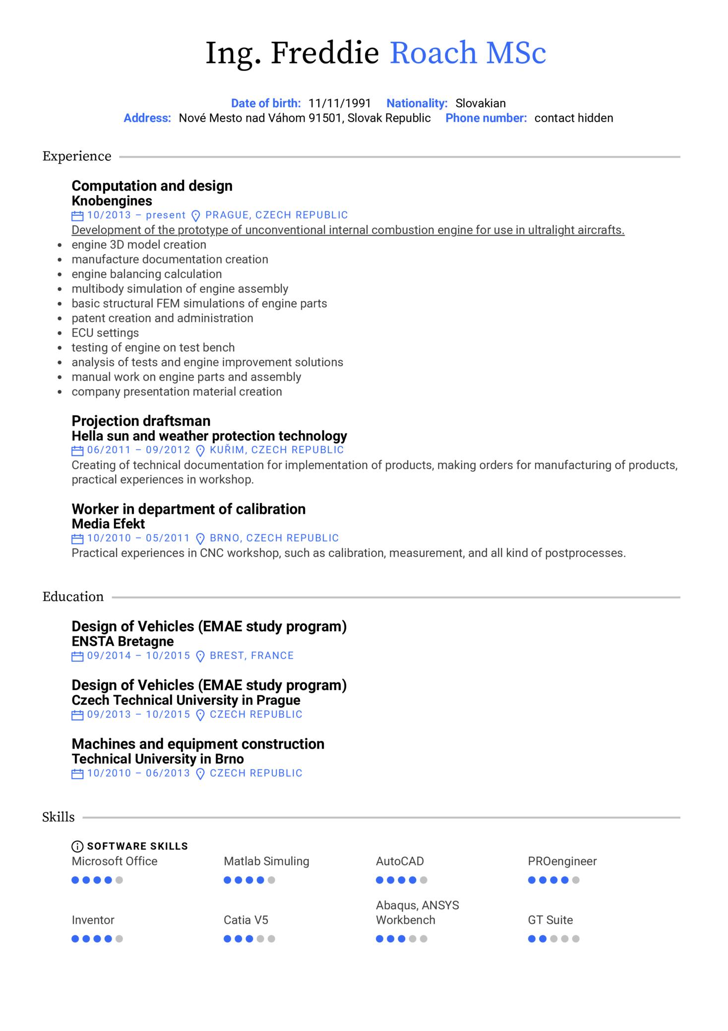 Aeromobil Design Engineer Resume Example (Teil 1)