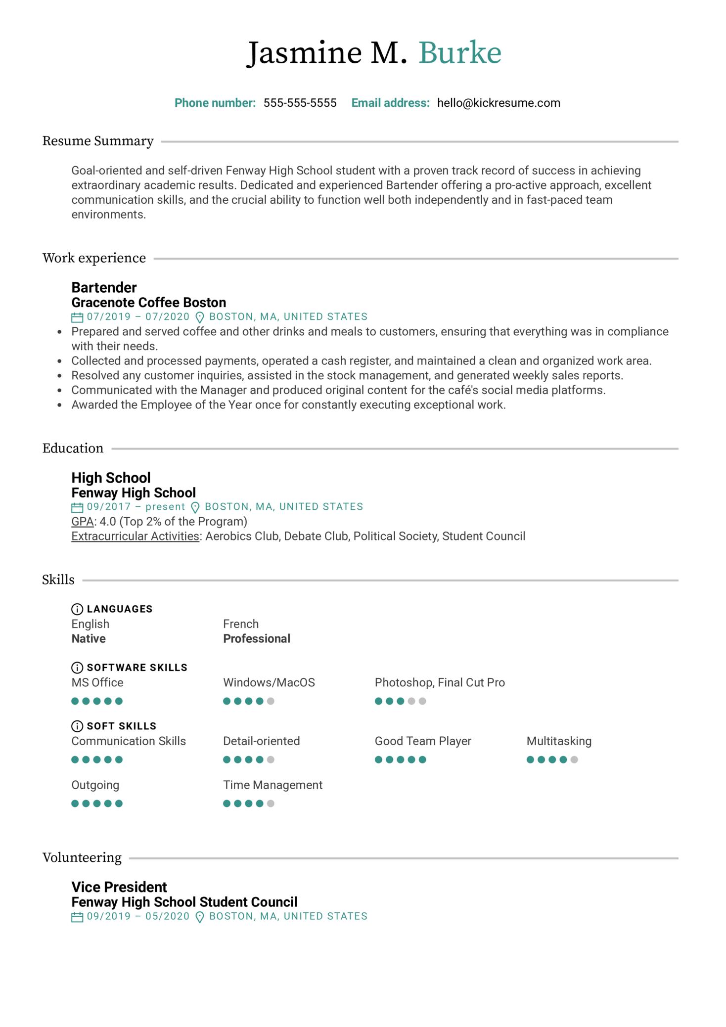High School CV Template (Part 1)