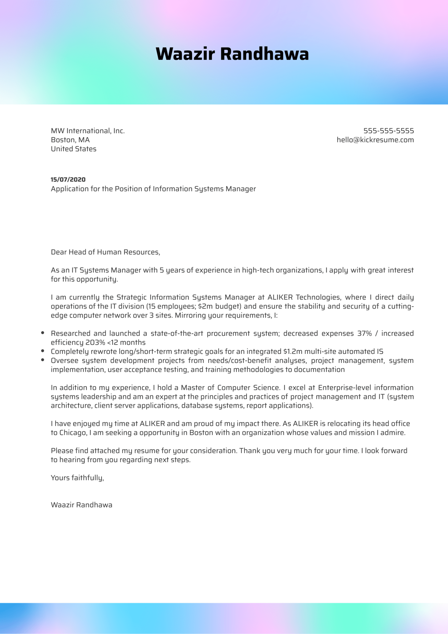 Information Systems Manager Cover Letter Example