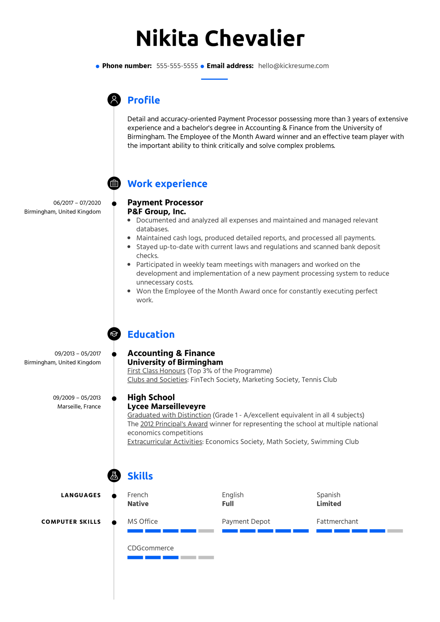 Payment Processing Resume Sample (parte 1)