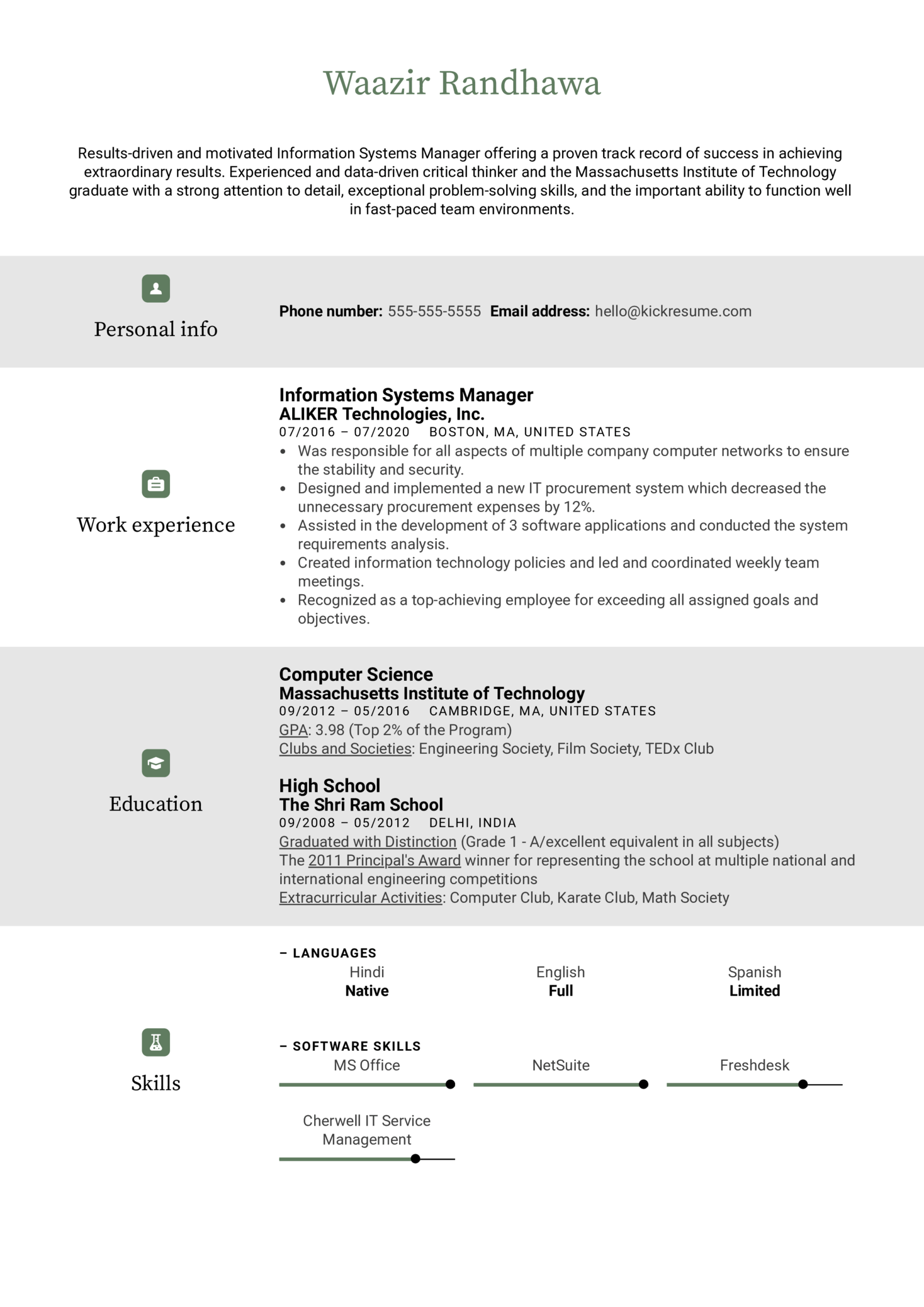 Information Systems Manager Resume Example (časť 1)