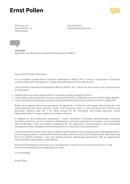 Professional Job Cover Letter Template