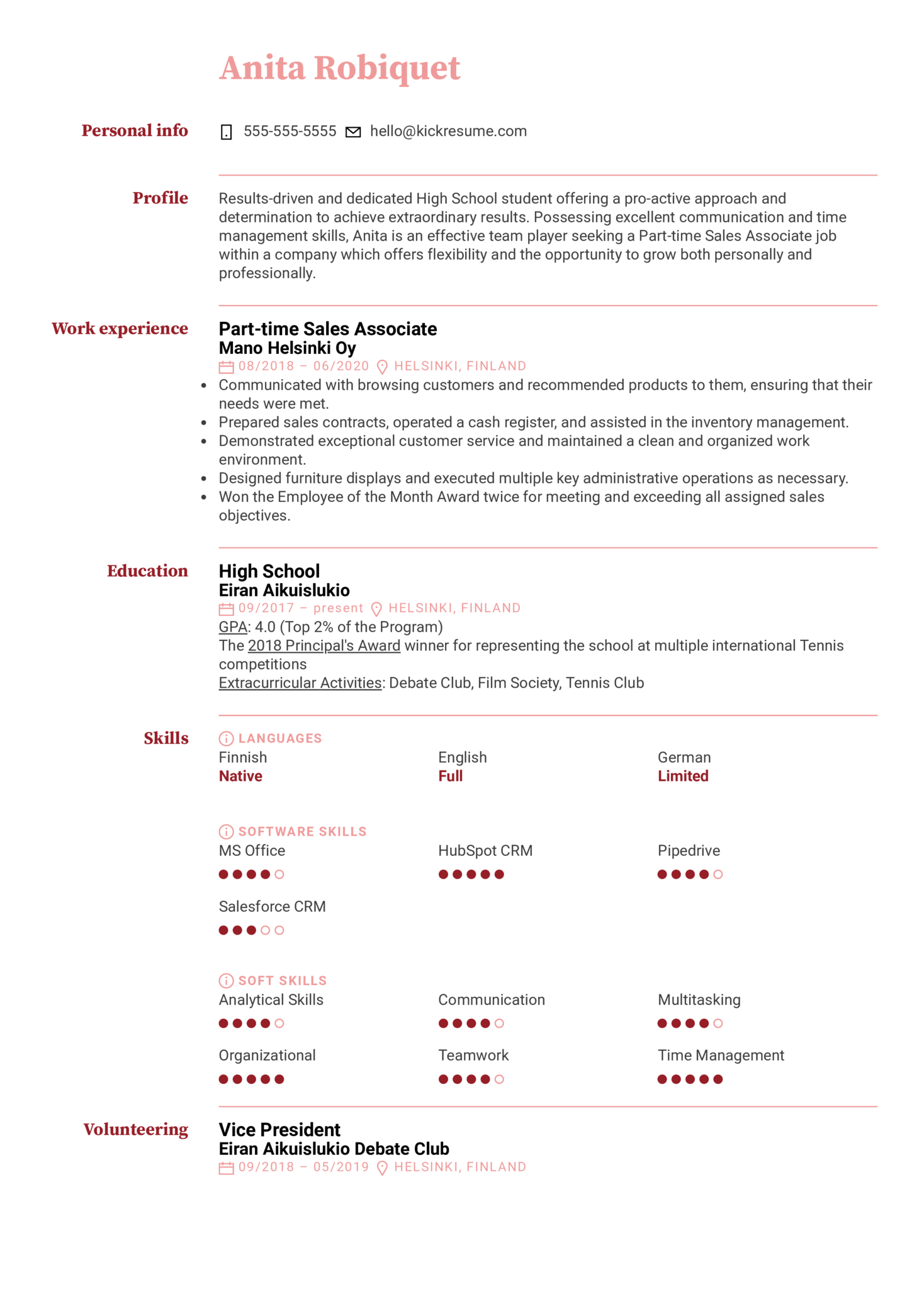 Part-Time Job Resume Example for a Teen (Part 1)