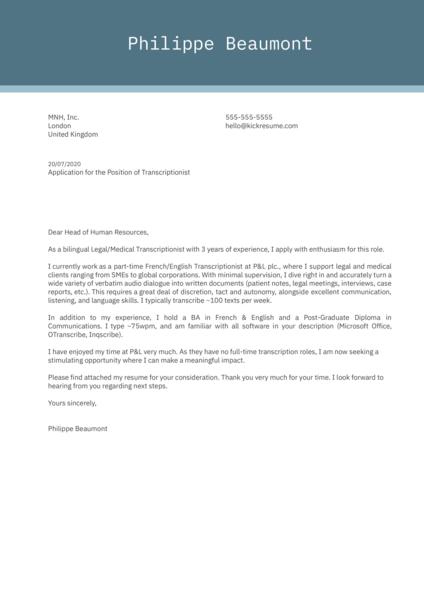 Transcriptionist Cover Letter Example