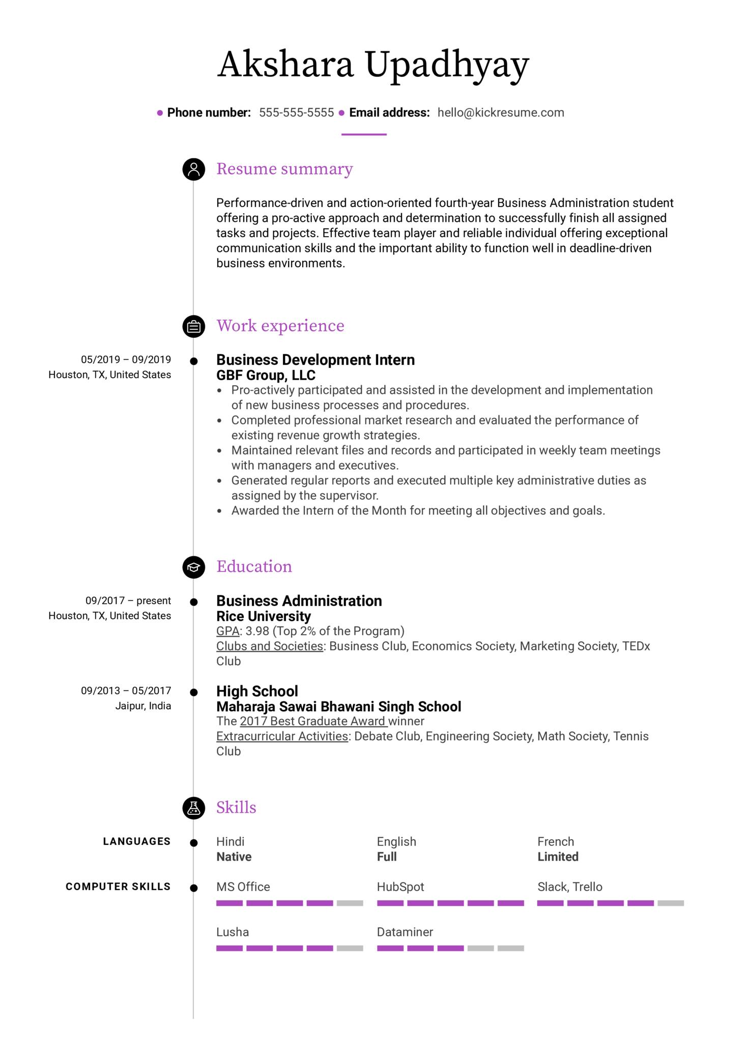 Free College Student Resume Example (Parte 1)