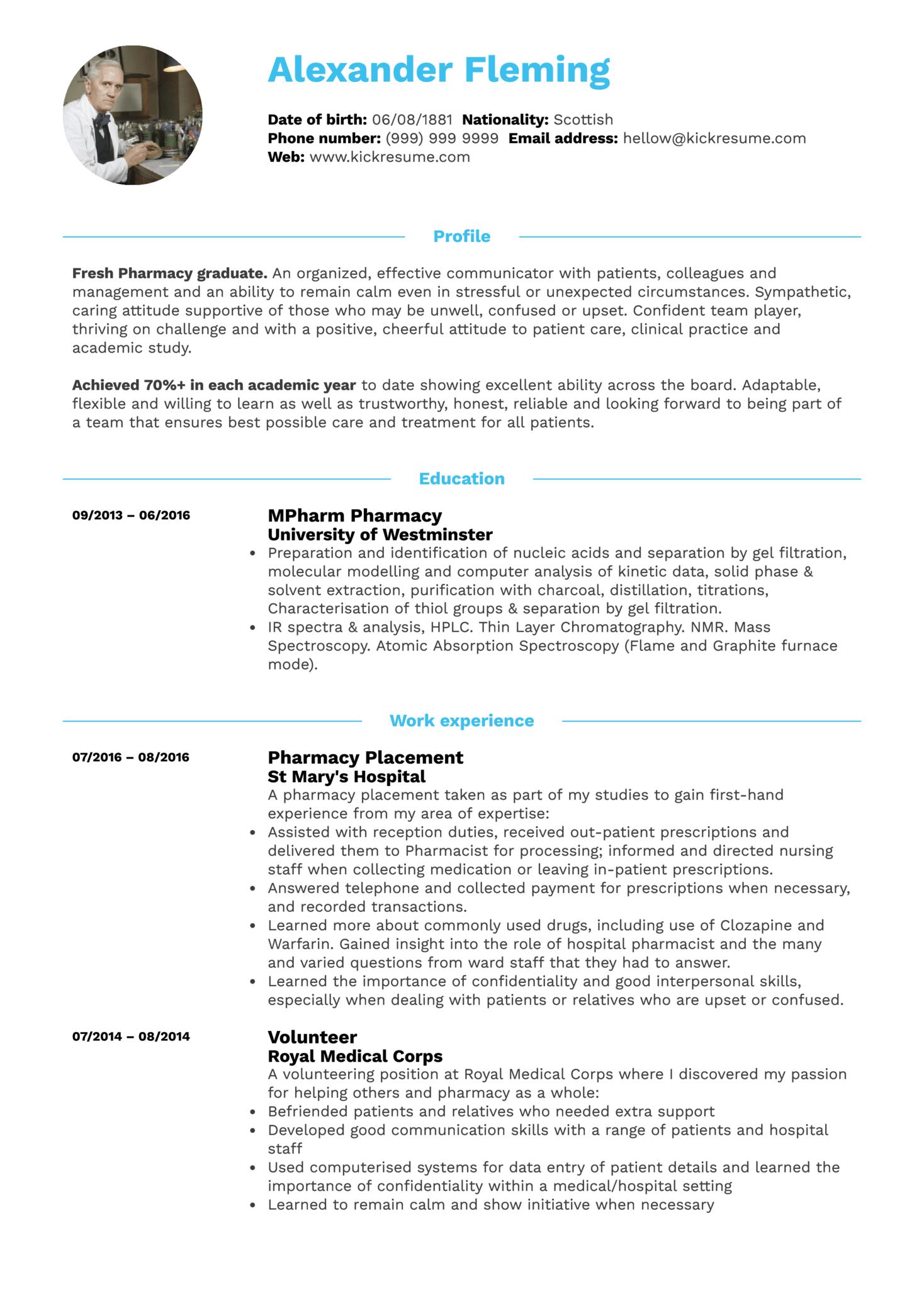 Student Resume Pharmacy (časť 1)