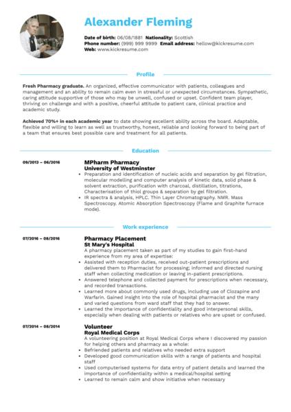 Student Resume Pharmacy