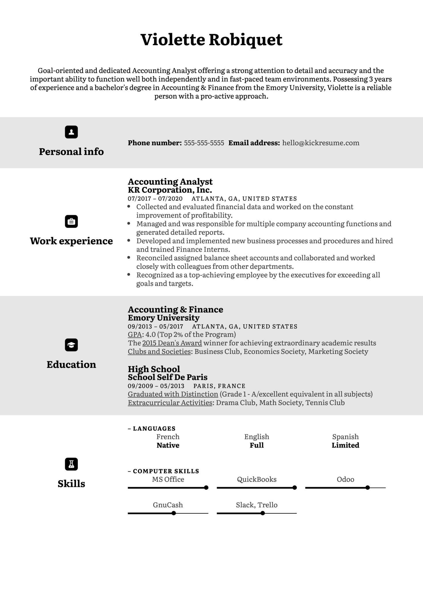 English CV Example (Part 1)