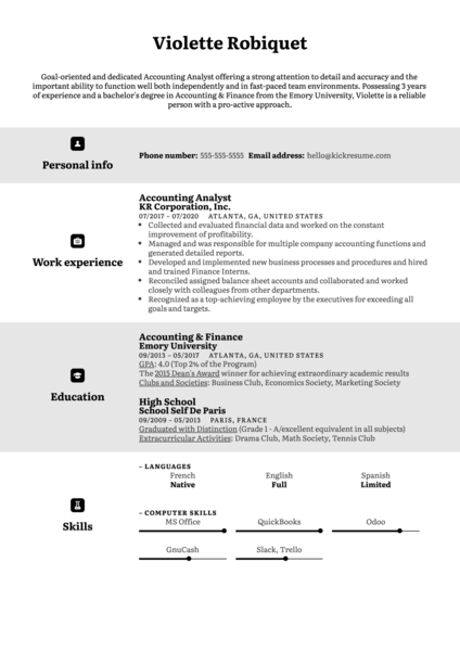English CV Example
