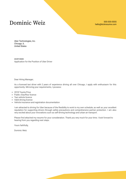 Uber Driver Cover Letter Example