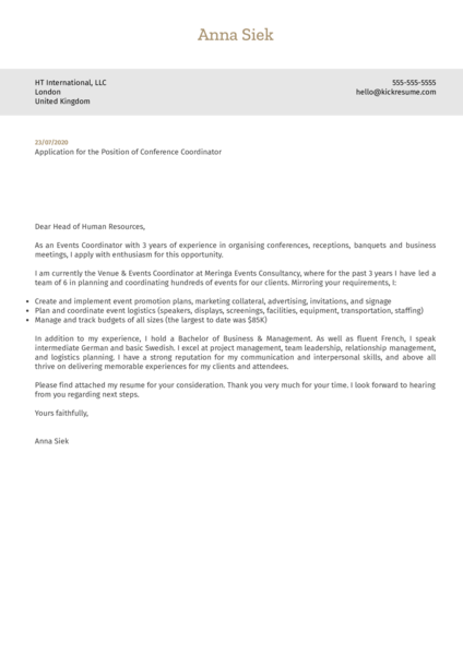 Conference Coordinator Cover Letter Example