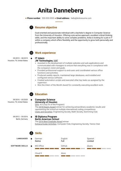 College Graduate Resume Template