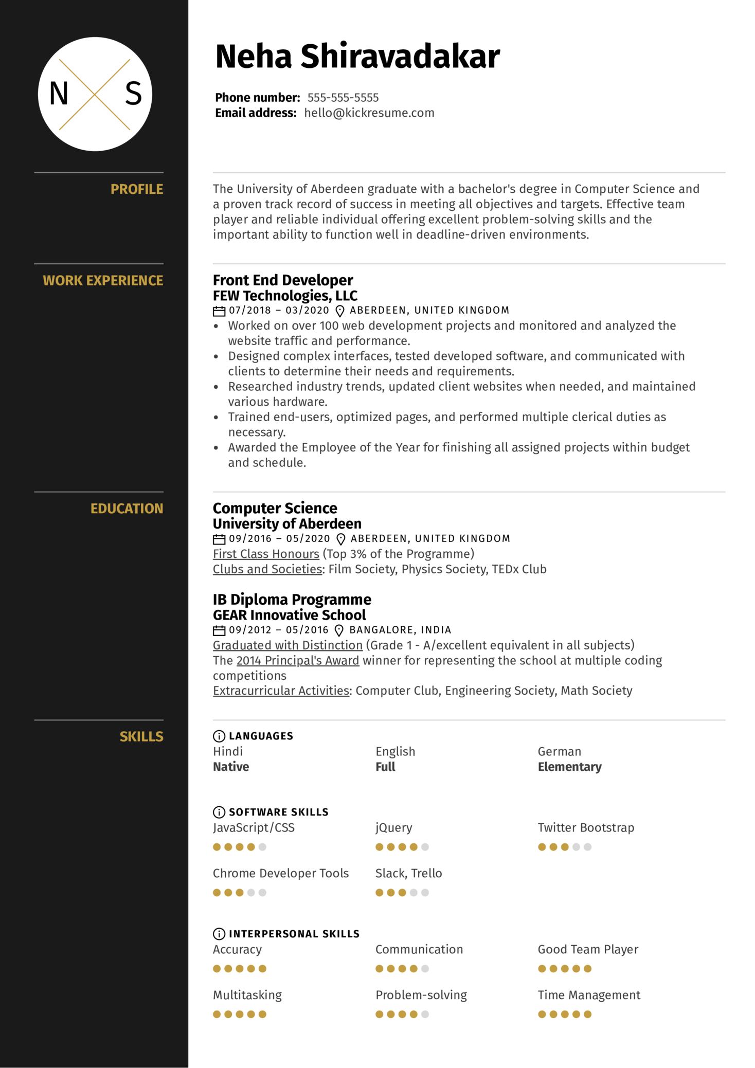Graduate Resume Template (Part 1)