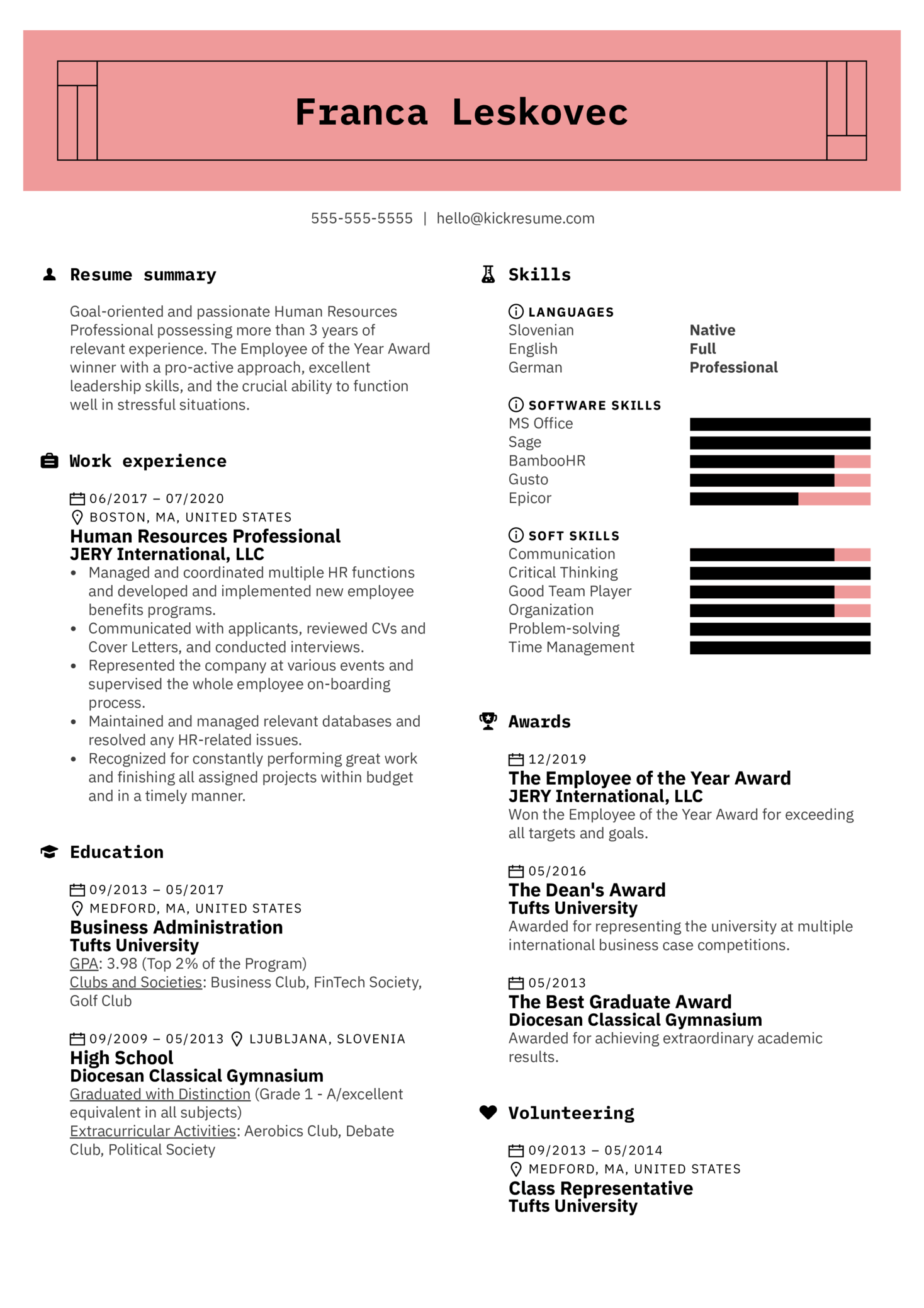 Awards on a Resume Example (Part 1)