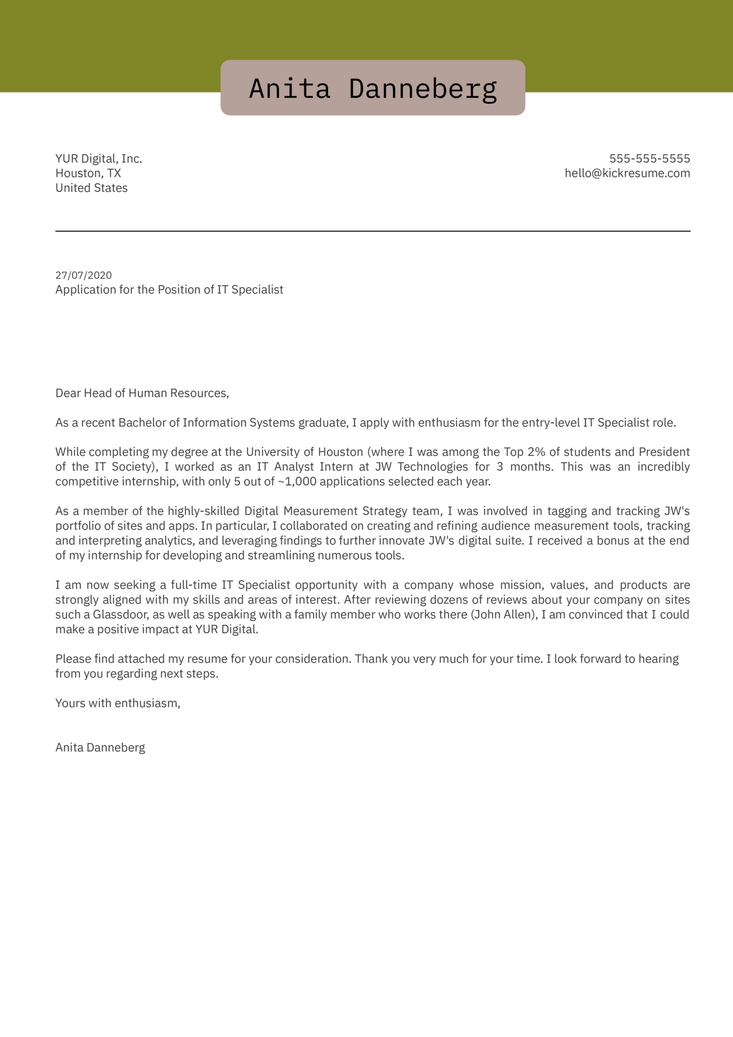 College Graduate Cover Letter Example
